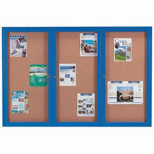 Aarco DCC4872-3RB 3 Door Indoor Enclosed Bulletin Board with Blue Powder Coated Aluminum Frame  48