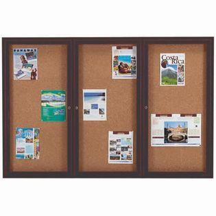 Aarco DCC4872-3RBA 3 Door Indoor Enclosed Bulletin Board with Bronze Anodized  Aluminum Frame  48