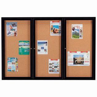 Aarco DCC4872-3RBK 3 Door Indoor Enclosed Bulletin Board with Black Powder Coated Aluminum Frame  48