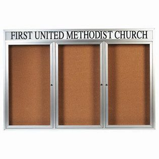 Aarco DCC4872-3RH 3 Door Indoor Enclosed Bulletin Board with Powder Coated Aluminum Frame  and Header 48
