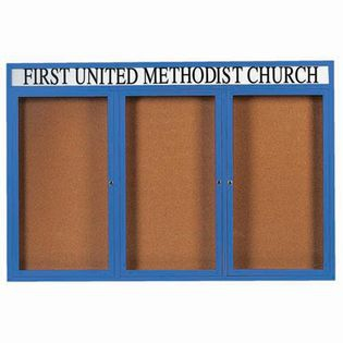 Aarco DCC4872-3RHB 3 Door Indoor Enclosed Bulletin Board with Blue Powder Coated Aluminum Frame  and Header 48