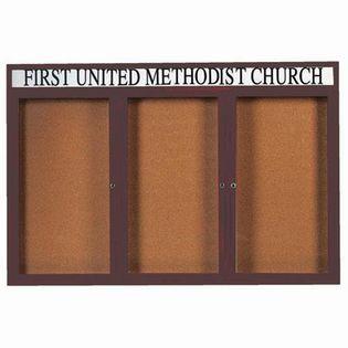 Aarco DCC4872-3RHBA 3 Door Indoor Enclosed Bulletin Board with Bronze Anodized  Aluminum Frame  and Header 48