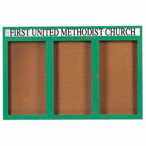 Aarco DCC4872-3RHG 3 Door Indoor Enclosed Bulletin Board with Green Powder Coated Aluminum Frame  and Header 48