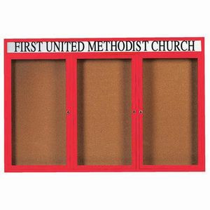 Aarco DCC4872-3RHR 3 Door Indoor Enclosed Bulletin Board with Red Powder Coated Aluminum Frame  and Header 48