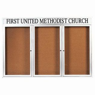Aarco DCC4872-3RHW 3 Door Indoor Enclosed Bulletin Board with White Powder Coated Aluminum Frame and Header 48