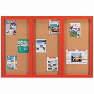 Aarco DCC4872-3RR 3 Door Indoor Enclosed Bulletin Board with Red Powder Coated Aluminum Frame  48