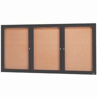 Aarco DCC4896-3RBA 3 Door Indoor Enclosed Bulletin Board with Bronze Anodized  Aluminum Frame  48