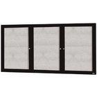 Aarco DCC4896-3RBK 3 Door Indoor Enclosed Bulletin Board with Black Powder Coated Aluminum Frame  48