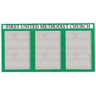 Aarco DCC4896-3RG 3 Door Indoor Enclosed Bulletin Board with Green Powder Coated Aluminum Frame  48