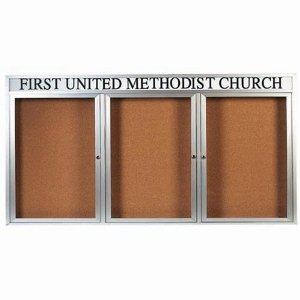 Aarco DCC4896-3RH 3 Door Indoor Enclosed Bulletin Board with Aluminum Frame  and Header 48