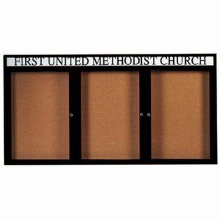 Aarco DCC4896-3RHBK 3 Door Indoor Enclosed Bulletin Board with Black Powder Coated Aluminum Frame  and Header 48