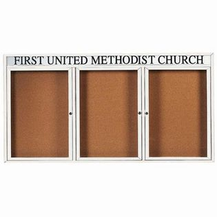 Aarco  DCC4896-3RHW 3 Door Indoor Enclosed Bulletin Board with White Powder Coated Aluminum Frame  and Header 48
