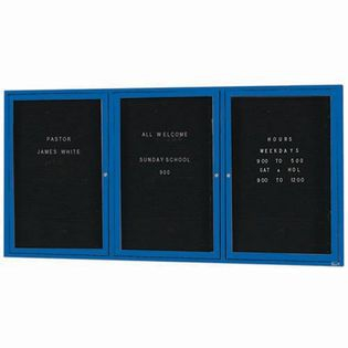 Aarco ADC4872-3B 3 Door Enclosed Directory Board with Blue Anodized Aluminum Frame 48