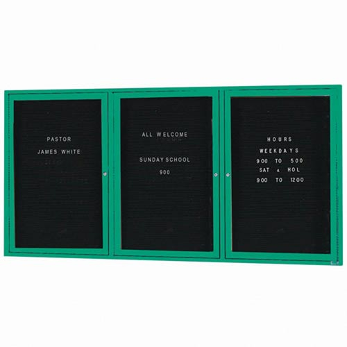 Aarco ADC4872-3G 3 Door Enclosed Directory Board with Green Anodized Aluminum Frame 48