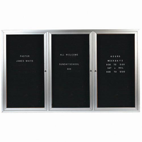 Aarco ADC4872-3I 3 Door Illuminated Enclosed Directory Board with Anodized Aluminum Frame 48