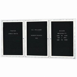 Aarco ADC4872-3W  3 Door Enclosed Directory Board with White Anodized Aluminum Frame 48