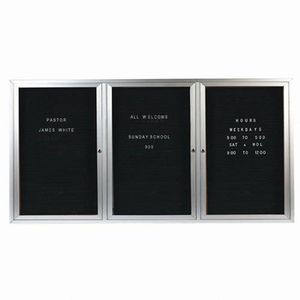 Aarco ADC4896-3 3 Door Enclosed Directory Board with Aluminum Frame 48