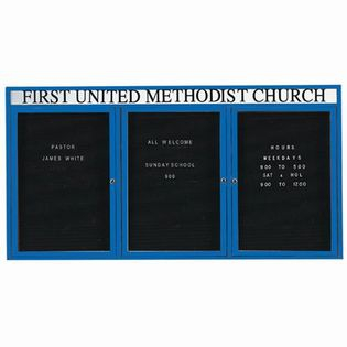 Aarco ADC4896-3HB 3 Door Enclosed Directory Board with Blue Anodized Aluminum Frame and Header 48