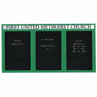 Aarco ADC4896-3HG 3 Door Enclosed Directory Board with Green Anodized Aluminum Frame and Header 48