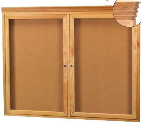Aarco OBC3672RC 3 Door Enclosed Bulletin Board with Crown Molding and Oak Finish  36