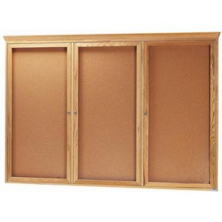 Aarco OBC4872RC 3 Door Enclosed Bulletin Board with Crown Molding and Oak Finish  48