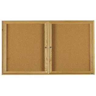 Aarco OBC3672-3R 3 Door Enclosed Bulletin Board with Oak Finish  36