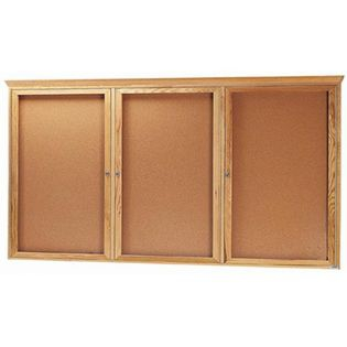 Aarco OBC4896-3R 3 Door Enclosed Bulletin Board with Oak Finish  48