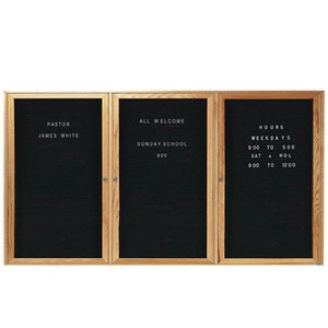 Aarco ODC4896-3 3 Door Enclosed Changeable Letter Board with Oak Finish 48