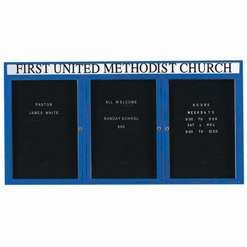 "Aarco OADC3672-3HIB 3 Door Outdoor Enclosed Directory Board with Blue Anodized Aluminum Frame 36"" x 72"""