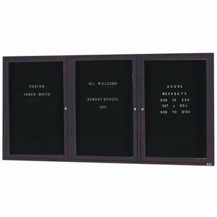 "Aarco OADC3672-3IBA 3 Door Outdoor Illuminated Enclosed Directory Board with Bronze Anodized Aluminum Frame 36"" x 72"""