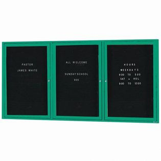 "Aarco OADC3672-3IG 3 Door Outdoor Illuminated Enclosed Directory Board with Green Anodized Aluminum Frame 36"" x 72"""