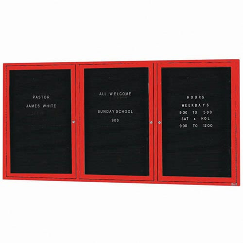 "Aarco OADC3672-3IR 3 Door Outdoor Illuminated Enclosed Directory Board with Red Anodized Aluminum Frame 36"" x 72"""