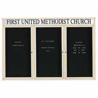 "Aarco OADC4872-3HIV 3 Door Outdoor Enclosed Directory Board with Ivory Anodized Aluminum Frame and Header 48"" x 72"""
