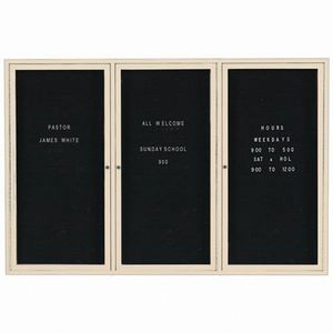 """Aarco OADC4872-3IV 3 Door Outdoor Enclosed Directory Board with Ivory Anodized Aluminum Frame 48"""" x 72"""""""
