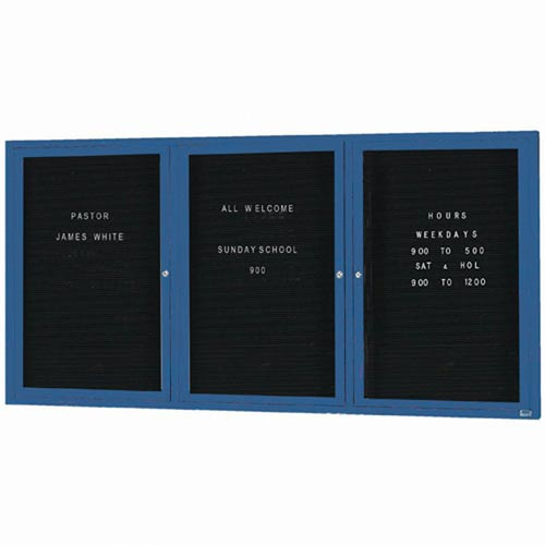 """Aarco OADC4896-3IB 3 Door Outdoor Illuminated Enclosed Directory Board with Blue Anodized Aluminum Frame  48"""" x 96"""""""