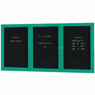"Aarco OADC4896-3IG 3 Door Outdoor Illuminated Enclosed Directory Board with Green Anodized Aluminum Frame  48"" x 96"""