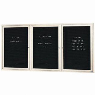 "Aarco OADC4896-3IIV 3 Door Outdoor Illuminated Enclosed Directory Board with Ivory Anodized Aluminum Frame  48"" x 96"""