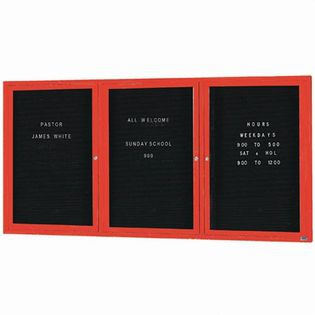 "Aarco OADC4896-3IR 3 Door Outdoor Illuminated Enclosed Directory Board with Red Anodized Aluminum Frame  48"" x 96"""