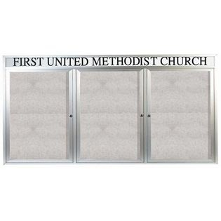"""Aarco ODCC3672-3RHI 3 Door Outdoor Illuminated Enclosed Bulletin Board with Aluminum Frame and Header 36"""" x 72"""""""