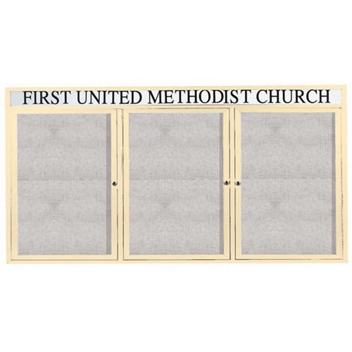 """Aarco ODCC3672-3RHIIV 3 Door Outdoor Illuminated Enclosed Bulletin Board with Ivory Powder Coated Aluminum Frame and Header 36"""" x 72"""""""