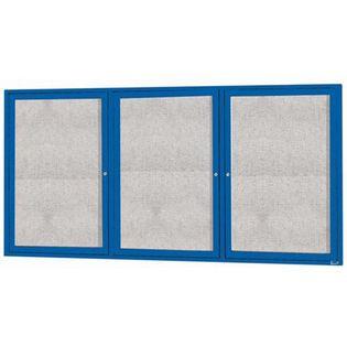 "Aarco ODCC3672-3RIB 3 Door Outdoor Illuminated Enclosed Bulletin Board with Powder Coated Aluminum Frame 36"" x 72"""