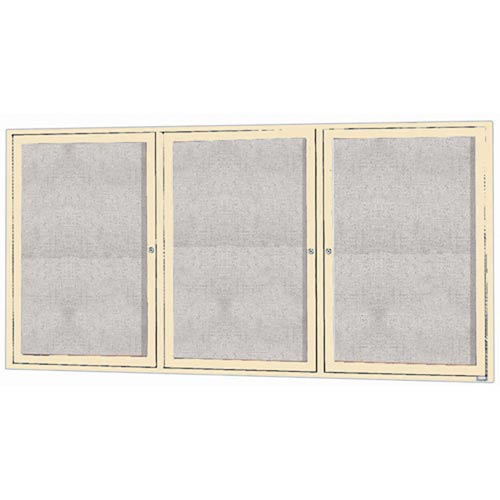 "Aarco ODCC3672-3RIIV 3 Door Outdoor Illuminated Enclosed Bulletin Board with Ivory Powder Coated Aluminum Frame 36"" x 72"""