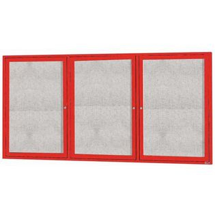 "Aarco ODCC3672-3RIR 3 Door Outdoor Illuminated Enclosed Bulletin Board with Red Powder Coated Aluminum Frame 36"" x 72"""