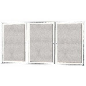 "Aarco ODCC3672-3RIW 3 Door Outdoor Illuminated Enclosed Bulletin Board with White Powder Coated Aluminum Frame 36"" x 72"""