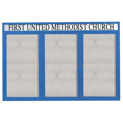 """Aarco ODCC4872-3RHIB 3 Door Outdoor Illuminated Enclosed Bulletin Board with Blue Powder Coated Aluminum Frame and Header 48"""" x 72"""""""