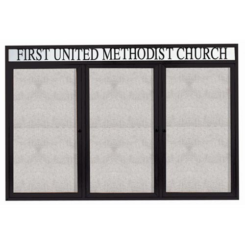 "Aarco ODCC4872-3RHIBK 3 Door Outdoor Illuminated Enclosed Bulletin Board with Black Powder Coated Aluminum Frame and Header 48"" x 72"""
