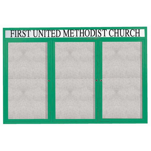 """Aarco ODCC4872-3RHIG 3 Door Outdoor Illuminated Enclosed Bulletin Board with Green Powder Coated Aluminum Frame and Header 48"""" x 72"""""""