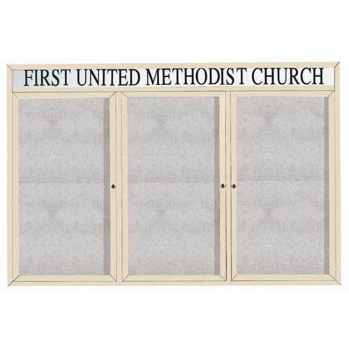 "Aarco ODCC4872-3RHIIV 3 Door Outdoor Illuminated Enclosed Bulletin Board with Ivory Powder Coated Aluminum Frame and Header 48"" x 72"""
