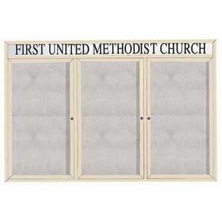 "Aarco ODCC4872-3RHIV 3 Door Outdoor Enclosed Bulletin Board with Ivory Powder Coated Aluminum Frame and Header 48"" x 72"""