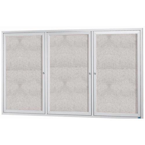 "Aarco ODCC4872-3RI 3 Door Outdoor Illuminated Enclosed Bulletin Board with Aluminum Frame 48"" x 72"""